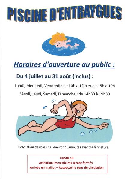 horaires ouverture piscine